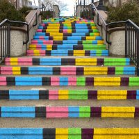 Steps painted bright colours