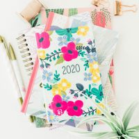 A display with a floral 2020 planner and pencils