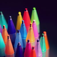 A photo of the tips of coloured pencils